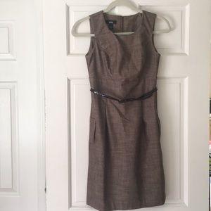 Brown tweed style midi dress